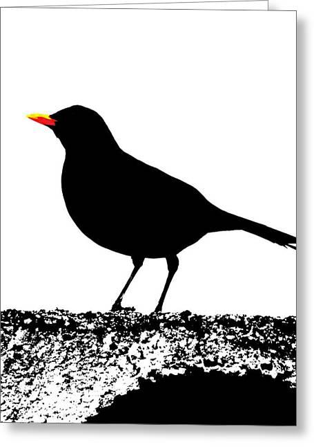 Blackbird On A Wall Greeting Card by Bishopston Fine Art