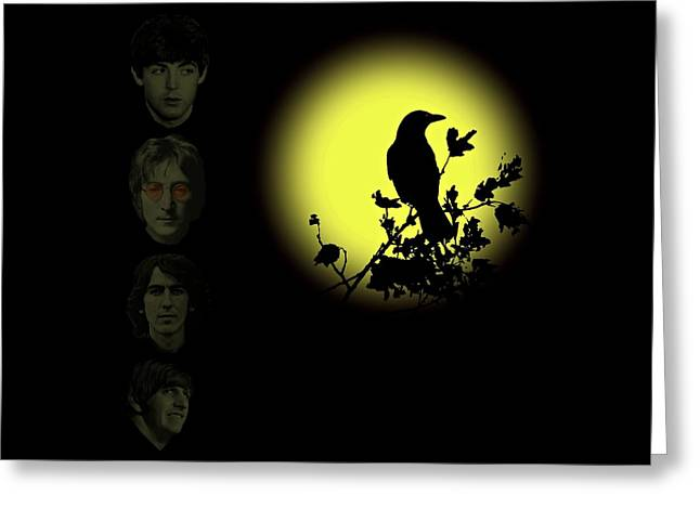 Blackbird Singing In The Dead Of Night Greeting Card by David Dehner