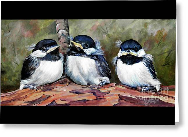 Blackcapped Chickadee Babies Greeting Card by Suzanne Schaefer