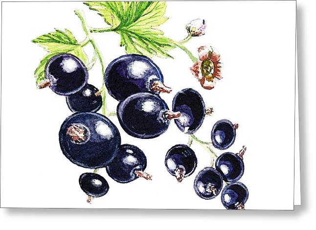 Greeting Card featuring the painting Blackcurrant Berries  by Irina Sztukowski