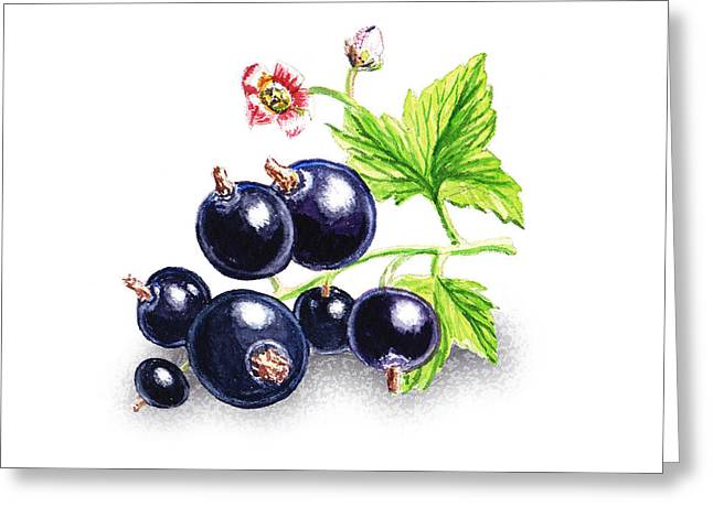 Greeting Card featuring the painting Blackcurrant Still Life by Irina Sztukowski