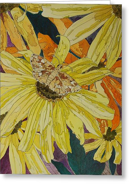 Blackeyed Susans And Butterfly Greeting Card by Terry Holliday