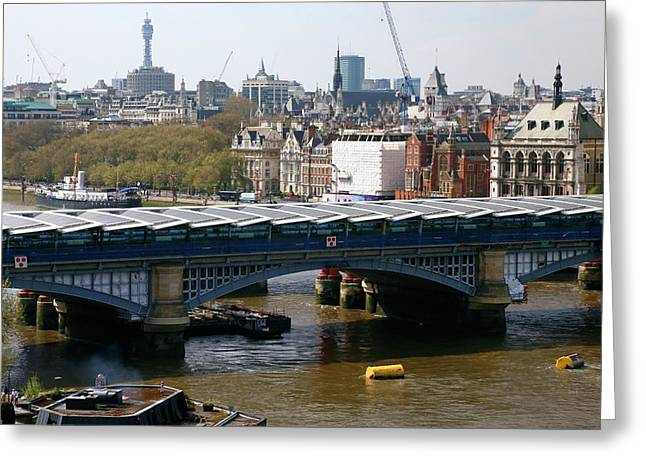 Blackfriars Bridge Greeting Card by Victor De Schwanberg