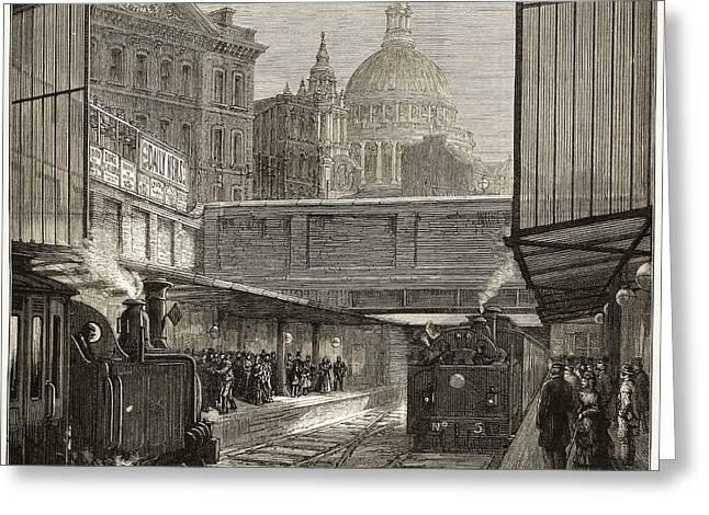 Blackfriars Underground Station Greeting Card by British Library