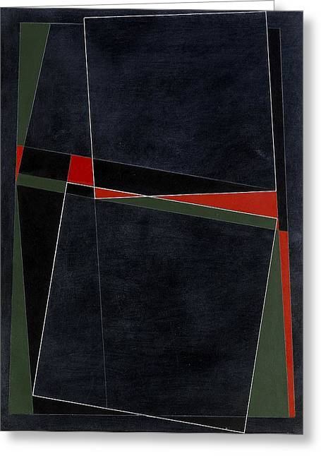 Blacknoll Reciprocal Forms With Red And Green Oil & White Ink On Board Greeting Card by George Dannatt