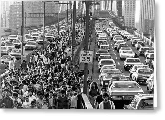 Blackout Jams Brooklyn Bridge Greeting Card by Underwood Archives