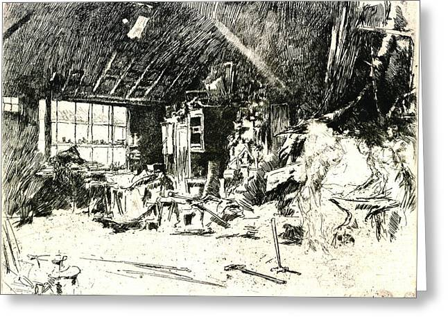 Blacksmith 1880 Greeting Card by Padre Art