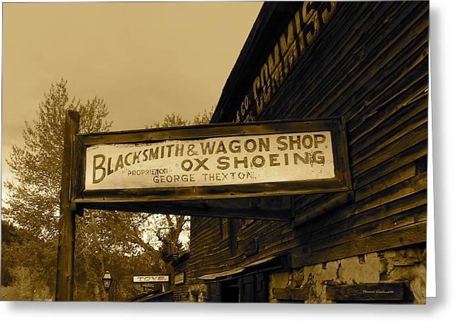 Blacksmith And Ox Shoeing Signage Greeting Card