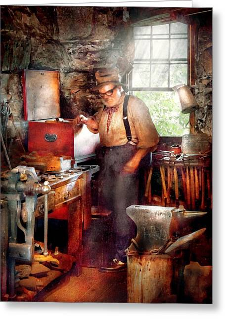 Blacksmith - The Smithy  Greeting Card by Mike Savad