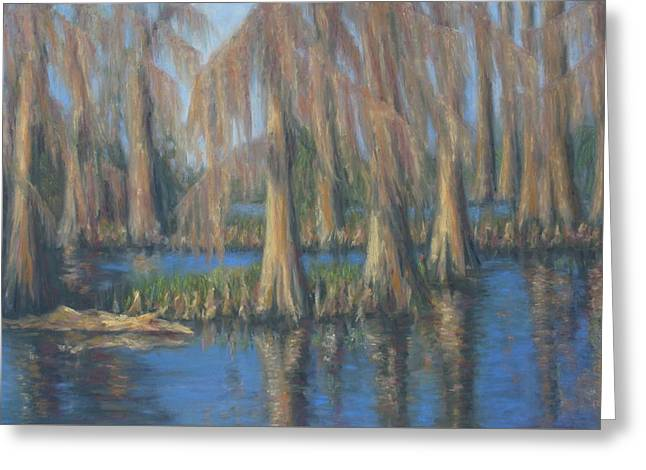 Blackwater Blue At Magnolia Gardens Greeting Card
