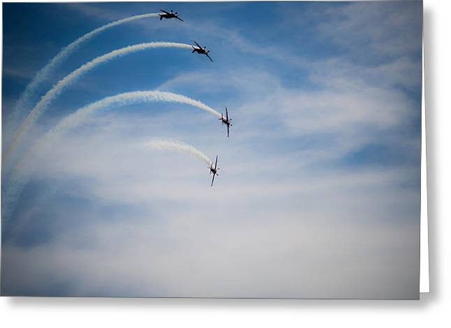 Greeting Card featuring the photograph Blades Formation Loop by Scott Lyons
