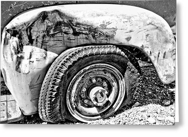 Black And White Wheel Greeting Card by Adam Jewell