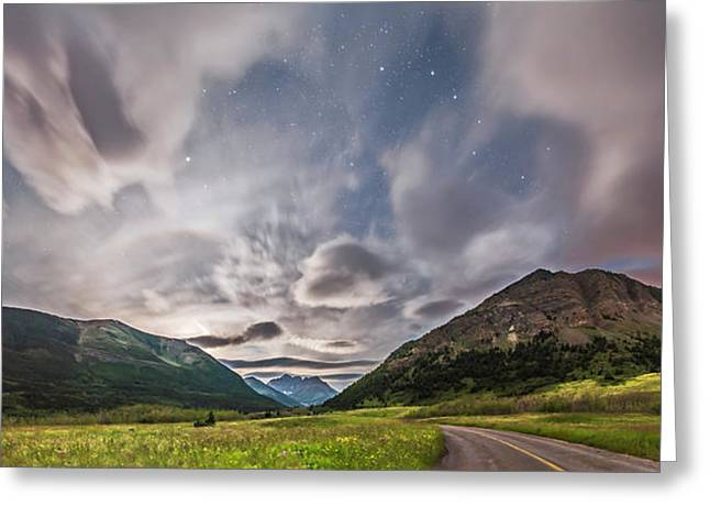 Blakiston Valley By Moonlight Greeting Card by Alan Dyer