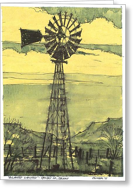 Greeting Card featuring the mixed media Blanco Canyon Windmill by Tim Oliver