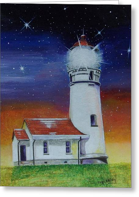 Greeting Card featuring the painting Blanco Lighthouse by Thomas J Herring