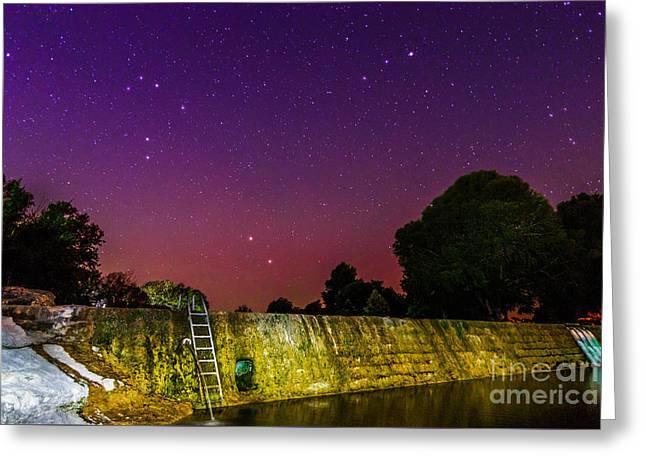 Blanco River Dam At Night - Texas Hill Country Blanco Texas Greeting Card