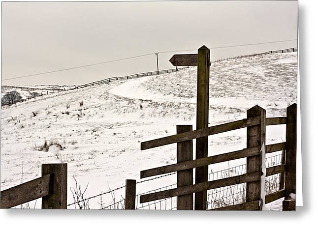 Guidepost greeting cards page 2 of 2 fine art america blank wooden signpost on snow covered moorland greeting card m4hsunfo