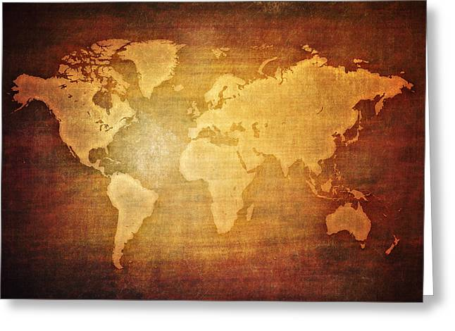 Blank World Map Vintage Greeting Card