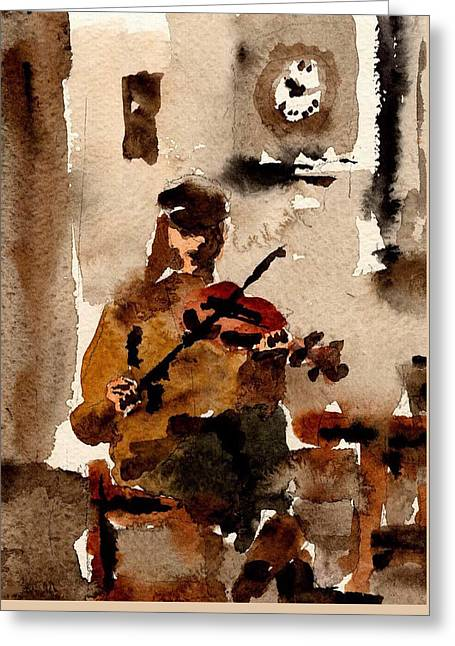 Sean O Criomhain Blasket Fiddle Player Kerry Greeting Card by Val Byrne
