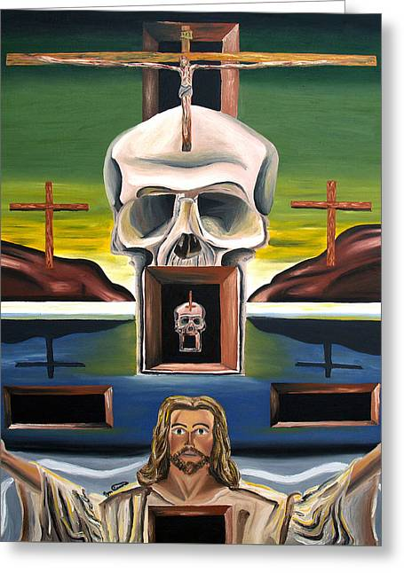 Greeting Card featuring the painting Blasphemixition by Ryan Demaree