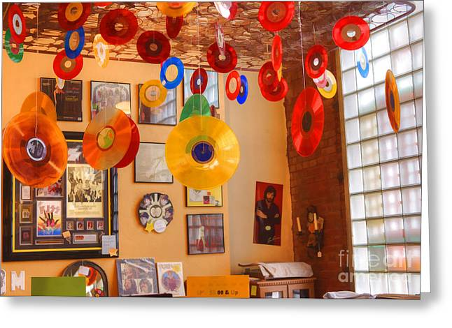 Blast From The Past - Vinyl Records Greeting Card by Liane Wright