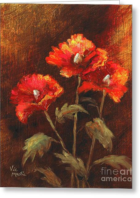 Greeting Card featuring the painting Blazing Poppies by Vic  Mastis