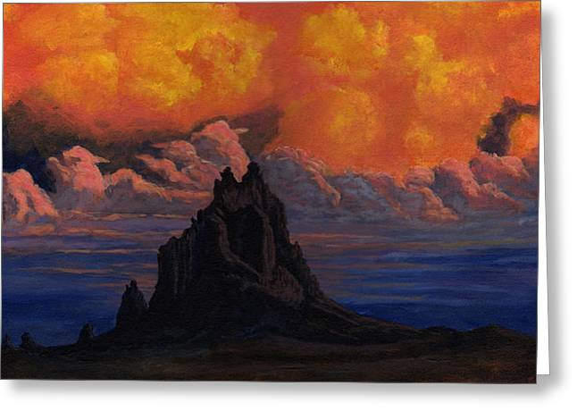 Blazing Skys Of Shiprock Greeting Card