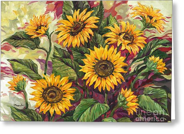 Blazing Sunflowers Greeting Card by Paul Brent
