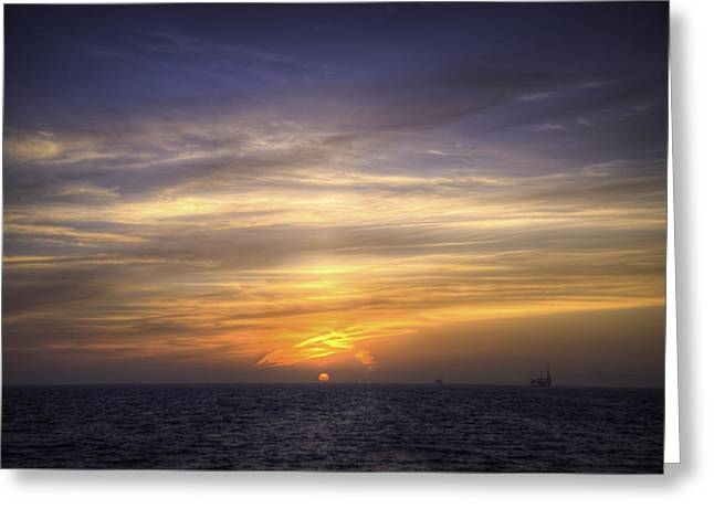 Blazing Sunset Greeting Card by Spencer McDonald