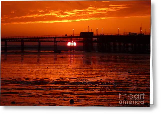 Blazing Sunset Greeting Card by Vicki Spindler