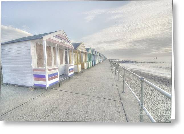 Bleached Huts At Southwold Greeting Card by Rob Hawkins
