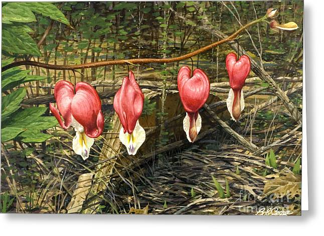 Greeting Card featuring the painting Bleeding Hearts by Bob  George
