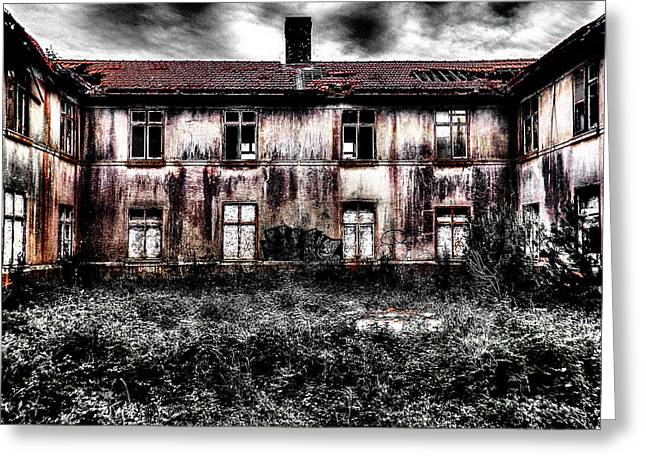Bleeding House Greeting Card by Marco Oliveira