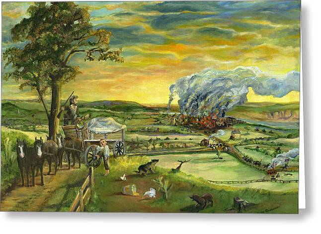 Greeting Card featuring the painting Bleeding Kansas - A Life And Nation Changing Event by Mary Ellen Anderson