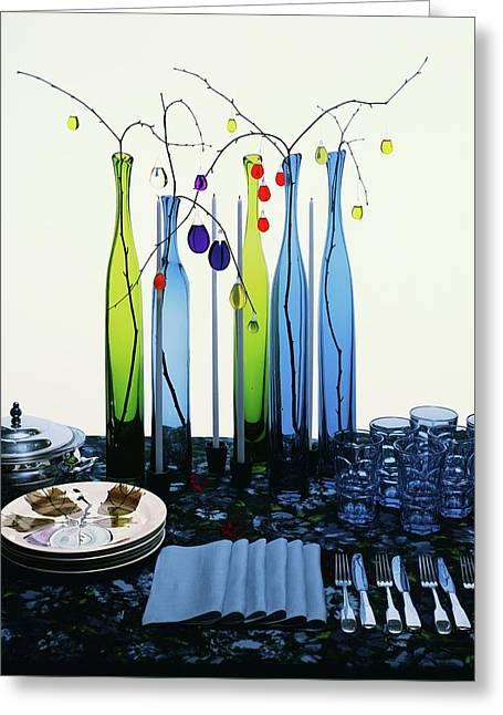 Blenko Glass Bottles Greeting Card by Rudy Muller