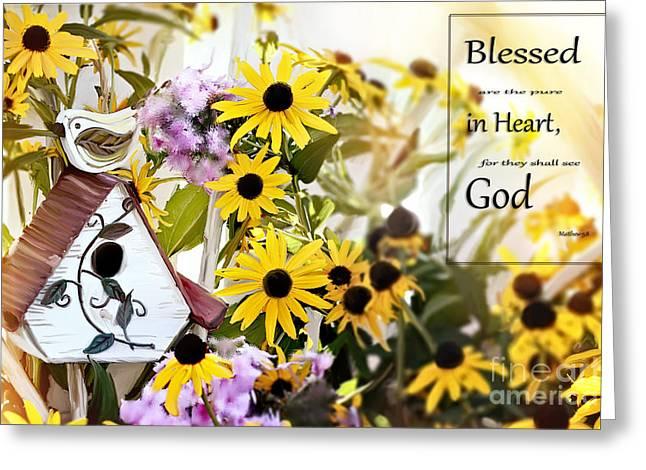 Blessed Are The Pure In Heart Greeting Card by Stephanie Frey