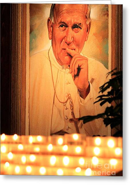 Greeting Card featuring the photograph Saint John Paul II by Theresa Ramos-DuVon
