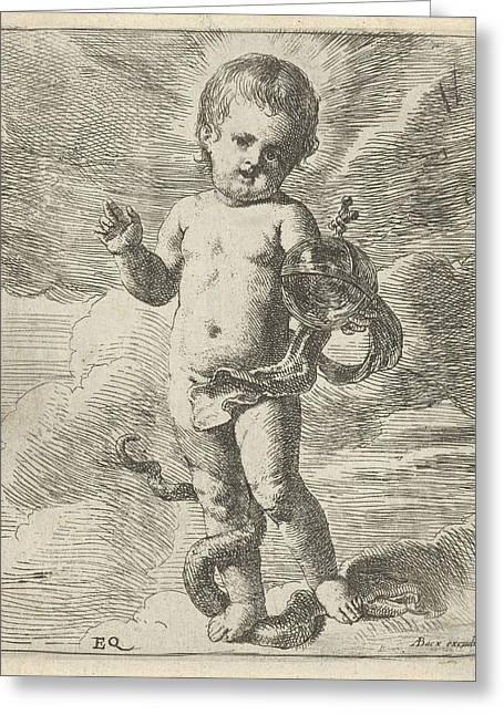 Blessing Christ Child, Erasmus Quellinus II Greeting Card