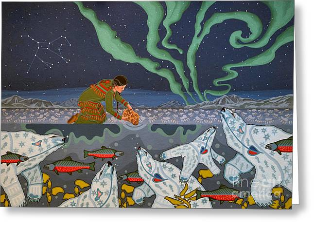 Greeting Card featuring the painting Blessing Of The Polar Bears by Chholing Taha