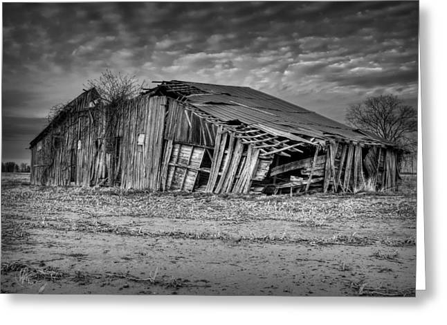 Blighted Barn 001 Bw Greeting Card by Lance Vaughn