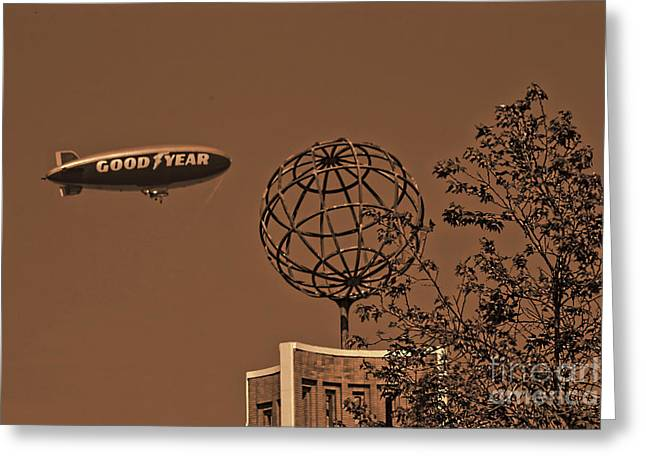 Blimp Over Usc Greeting Card