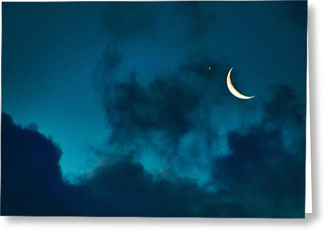 Greeting Card featuring the photograph Blind Date With Venus by Meir Ezrachi