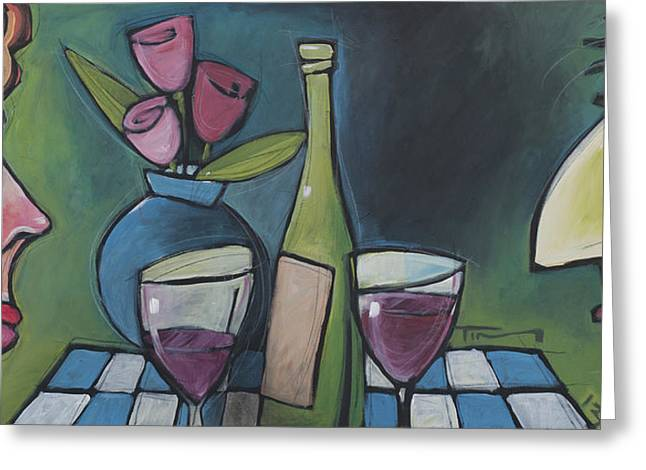 Blind Date With Wine Greeting Card by Tim Nyberg