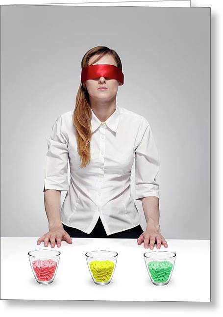 Blind Drug Trial Greeting Card by Victor De Schwanberg