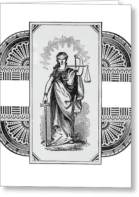 Blind Justice Holding A Scale In Left Greeting Card