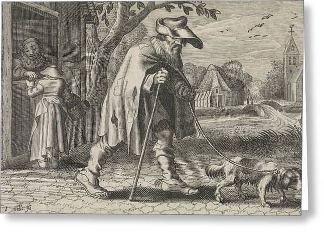 Blind Man Led By A Dog, Woman Before The Door Of Her House Greeting Card