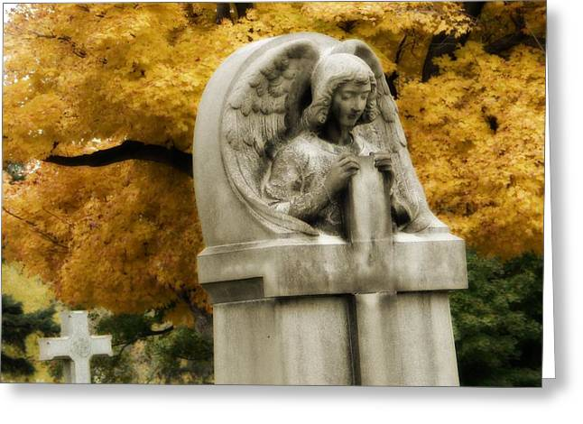 Blissful Angel In Autumn Greeting Card by Gothicrow Images