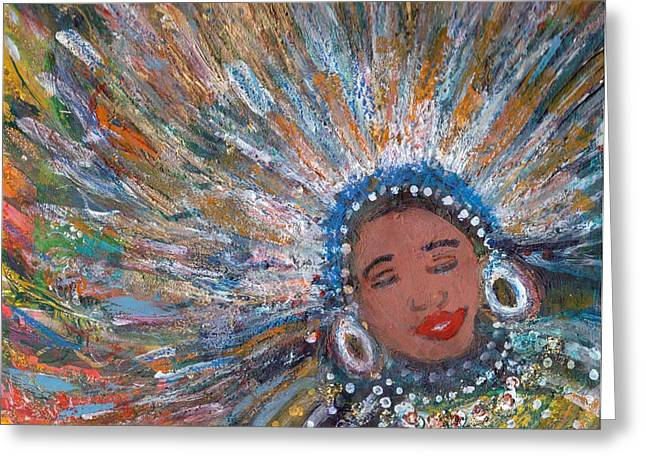 Blissfull Babe With Feathers Revised Greeting Card by Anne-Elizabeth Whiteway