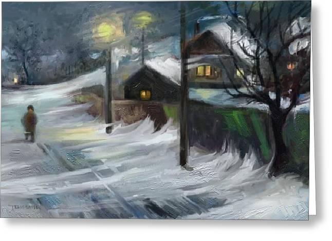 Blizzard Night Greeting Card by Tancau Emanuel