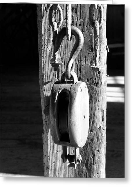 Block And Tackle 3 Bw Greeting Card by Mary Bedy